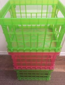 Green and Pink Stackable Bins