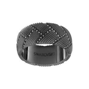 Men's Swarovski black crystal ring size 10