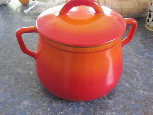 Small Vintage Orange Enamel Cast Iron Crock Pot