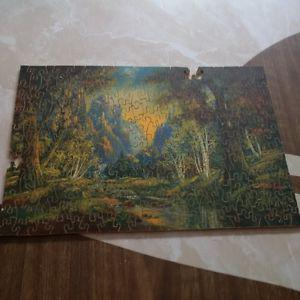 """Vintage/Antique Wood Jig-saw Puzzle, """"Friendly Valley"""""""