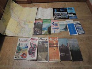 15 Vintage Circa  Alberta & BC Road Maps, Etc.