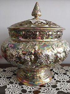 Gold Leaf Bowl with Lid