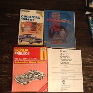Honda, civic, prelude, crx, accord, car shop manual