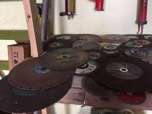 Pile of Misc Saw Blades, Grinder, Chop, Table, etc Great