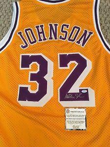 Signed Magic Johnson Lakers Jersey