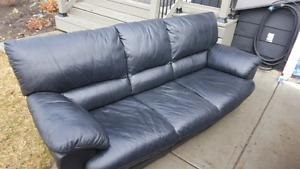 Synthetic black leather sofa