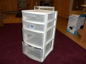 white 4 drawer storage cart on wheels