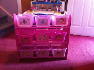 2 complete sets of Dora storage bins