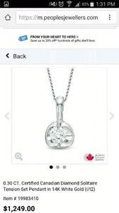 .30 carat Canadian diamond pendant
