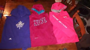 45$ size youth large under armour nike and adiddis hoodies