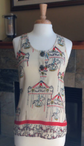 ANTHROPOLOGIE TRINITY TOP WITH CAROUSEL HORSES