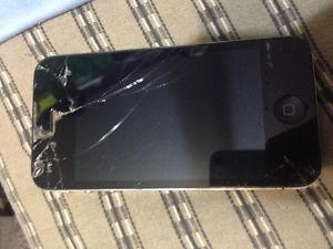 BROKEN black iPhone 4 OBO