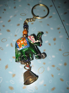 Brand New India Inspired Elephant and Bell Keychain