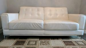 Contemporary leather sofa in pearl white color with chrome