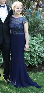 Dark Blue sequin top prom dress!