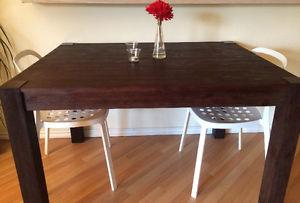 Dark Brown Acacia Wood Table and 4 Chairs for Sale