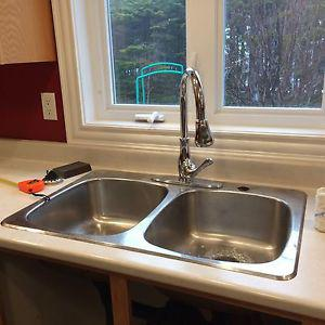 For sale stainless steel sink and faucet