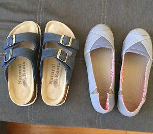 New Roots sandals size 5. New crocs size 6