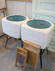 Vintage Enamel Double Washtubs Like New Famhouse Style
