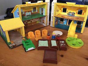 Vintage Little People House with people a furniture