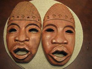 WALL FACE MASK-BEAUTIFULLY HAND CARVED WOODEN & 1 POTTERY