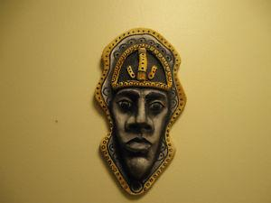 WALL FACE ORNAMENT- HAND PAINTED Pottery&HAND CARVED WOODEN