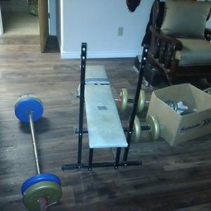 weight bench complete with weights