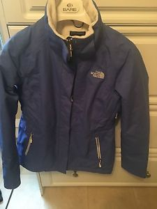 Blue north face winter jacket size small