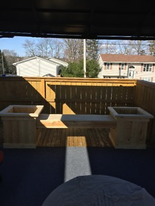 Brand New Pine Bench with Two Planters