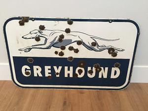 Double-Sided Porcelain Greyhound Bus Sign
