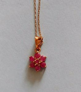Genuine ruby flower pendent 925 silver