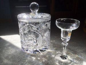 LEAD CRYSTAL ICE BUCKET AND CANDLE HOLDER