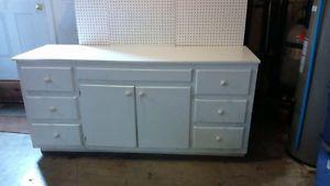 Large White Dresser, Work Bench shelf with lots of Drawers