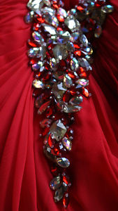 Mori Lee Red Beaded Prom Dress In Great Condition