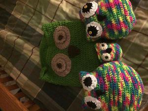 Owl basket and stuffed owls