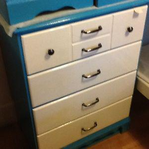 Teal and white dresser and two bedside tables