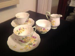 "VintageRoyal Albert ""Primulette""-2 Cups, Saucers,Sugar &"