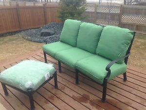 Wrought Iron Patio Bench and Ottoman (NEW)