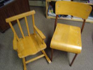 childs rocking chair and childrens stacking chairs
