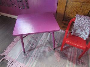 child's table chair and rug
