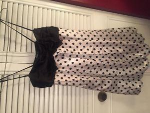 Black and white polka dot bubble dress, size L