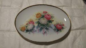 Decorative Plate Flowers and Gold Trim
