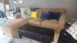 EUC micro fiber tan/ beige coloured couch with chaise lounge