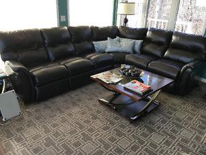 Genuine Leather LazyBoy Sectional Couch and Chair