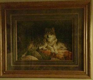 Large Wolf print matted and in solid oak frame