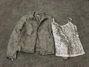 Leather jacket and sparkly shirt for sale! in good