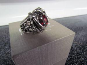 Men's Dragon Claw Stainless Steel Ring with Red Zircon