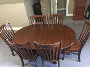 Solid Maple Double Pedestal Dining Table with 6 Chairs