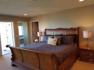 Solid Wood 5 Piece Sleigh Bed Set