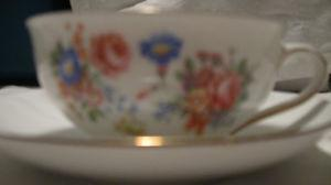 Tea Cups with Flowers and gold trim